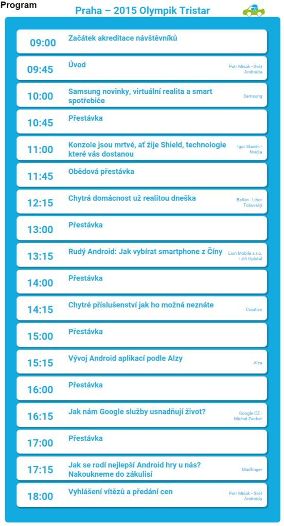Program - Android RoadShow 2015 - dotkni se Androida ve svém městě Android RoadShow 2015 – dotkni se Androida ve svém městě