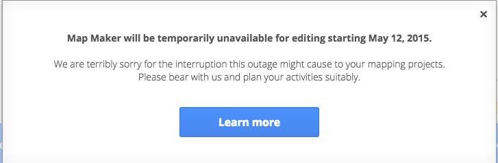 Počínaje dneškem bude editor Map Maker dočasně pozastaven
