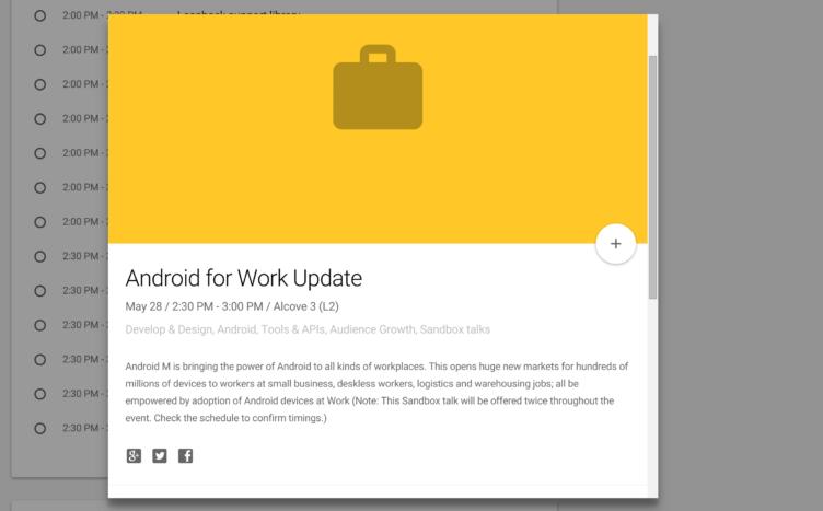 Snímek události, ve které je zmíněn Android M