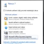 Připojení zařízení s Androidem kabelem k PC