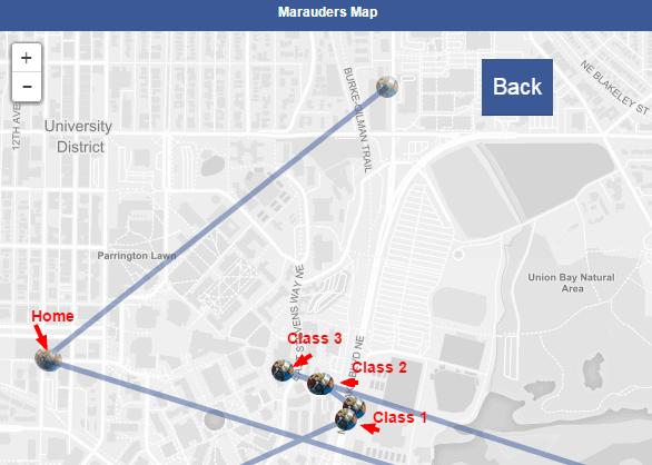 Mapa lokací z dat, které poskytuje Facebook Messenger