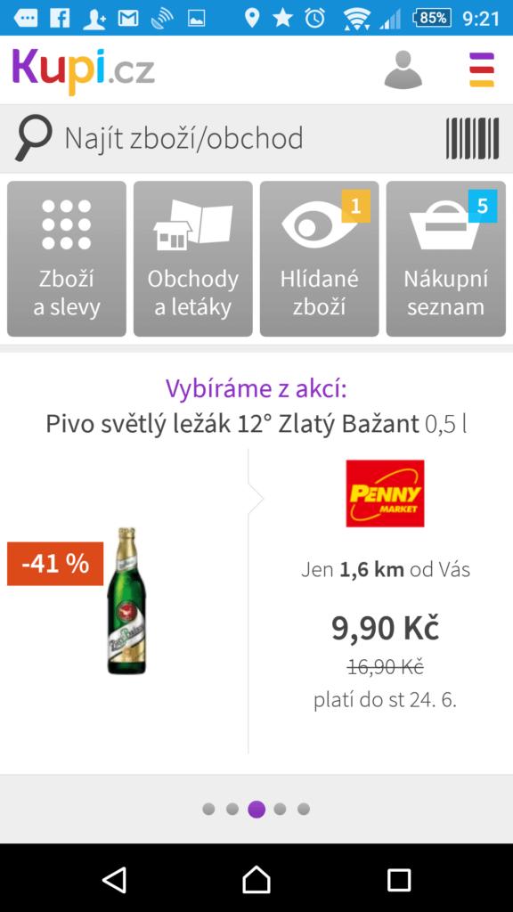 Rozhraní aplikace Kupi.cz