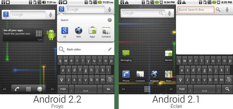 Porovnání Androidu 2.1 a 2.2
