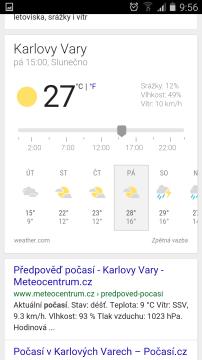 Google předpověď počasí