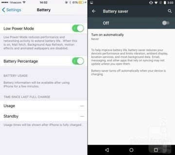 iOS 9 vs Android low power mode