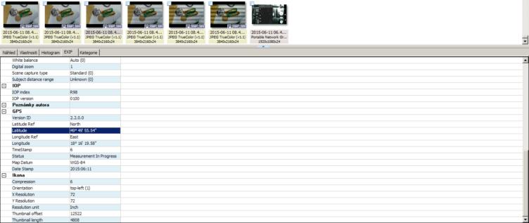 Zeměpisné souřadnice umí z fotky vyčíst například prohlížeč XnView