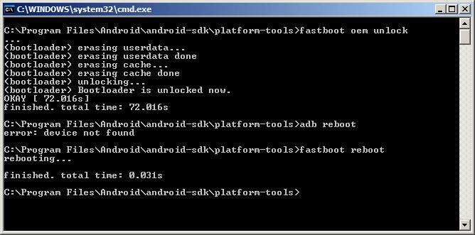 Zařízení můžete poté restartovat příkazem fastboot reboot