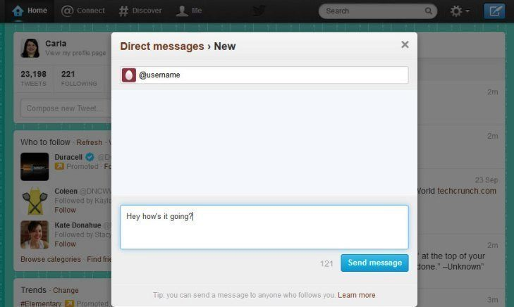 twitter direcet message
