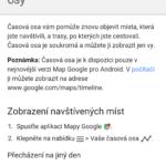 Časová osa v nové verzi Map Google