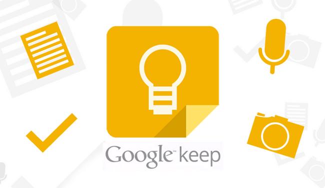 Google Keep umí textové poznámky, odrážkové seznamy, zadávání hlasem a přidávání fotografií.