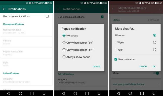 whatsapp prizpůsobení notifikací