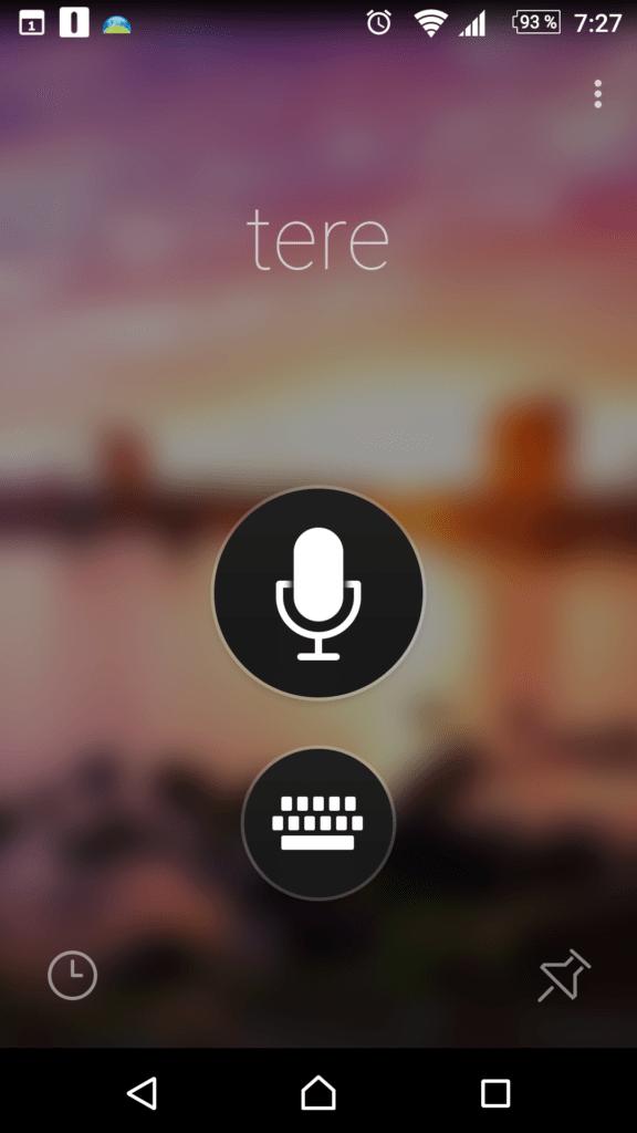 Hlavní obrazovka aplikace Microsoft Translator