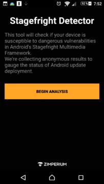 Úvodní obrazovka nástroje Stagefright Detector