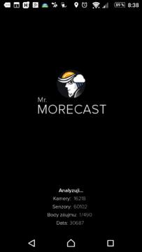 Zaváděcí obrazovka aplikace MORECAST