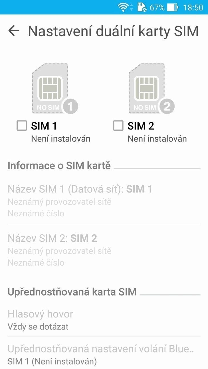 Asus Zenfone 2 - nastavení priority SIM karet