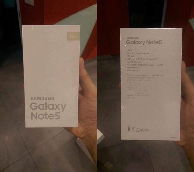 Samsung Galaxy Note 5 balení