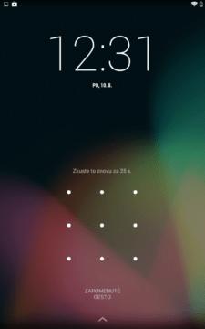 Tlačítko Zapomenutý kód/PIN/gesto