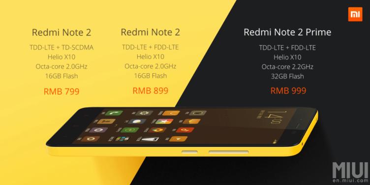 Xiaomi Redmi Note 2 ceny