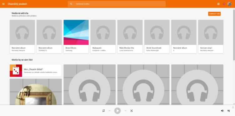 Obchod Play nabízí poslech hudby skrz webový prohlížeč