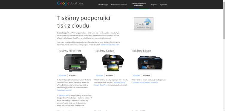 Odkazy na postupy pro tiskárny s podporou cloudu