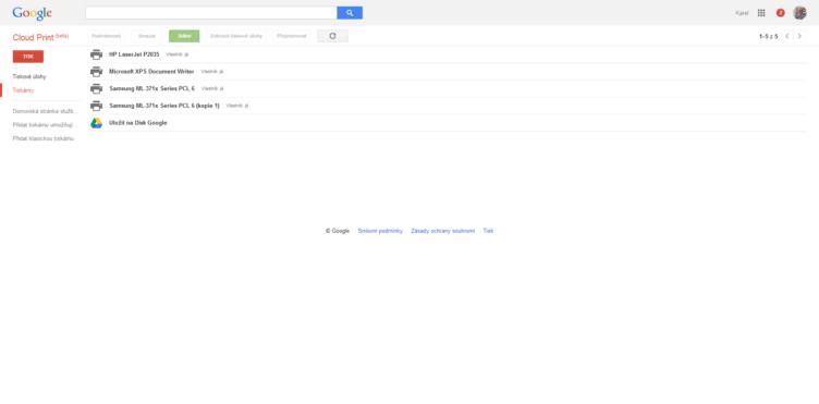 Přehled tiskáren ve službě Google Cloud Print
