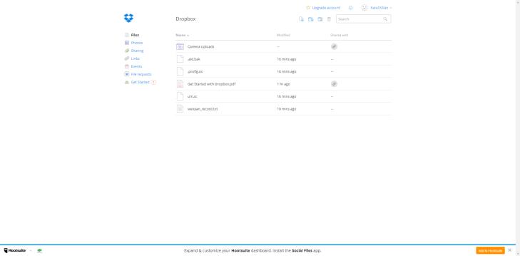 Webové rozhraní aplikace Dropbox