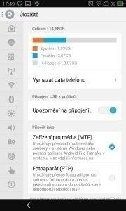 Meizu MX - obsazení vnitřní paměti