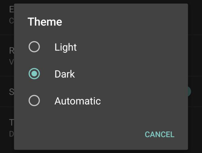 Dialog s volbou světlého, tmavého, či automatického tématu