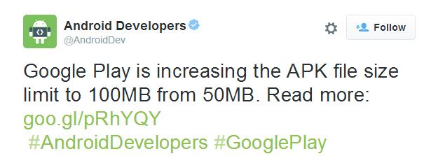Obchod Play zvětšuje povolenou velikost APK souborů na 100 MB