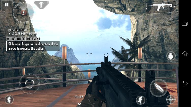 Ani akční FPS Modern Combat 4 nedělala testovanému telefonu problémy