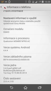 Sony Xperia Z3 - systém Android 4.4.4 (2)