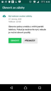 WhatsApp nabízel zálohu do lokálního úložiště