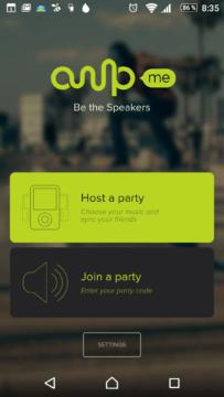 Úvodní obrazovka aplikace AmpMe