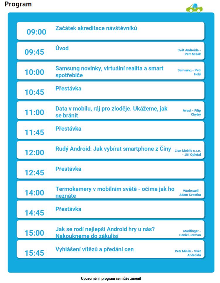 Alza Android RoadShow 2015 Praha program 2