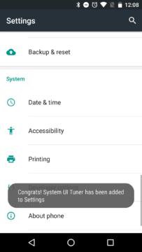 Do nastavení byla přidána položka System UI Tuner