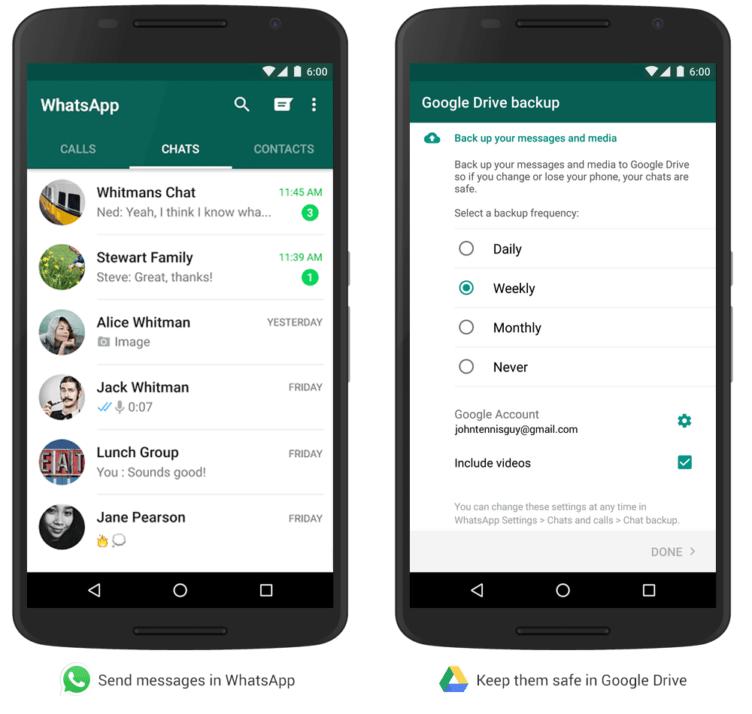 Kecálek WhatsApp přichází se zálohou dat na Disk Google