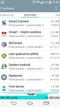LG G3s - obsazení paměti RAM
