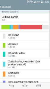 LG G3s - velikost vnitřního úložiště