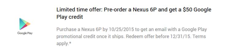 Google nabízel k Nexusu 6P 50 dolarů do Obchodu Play
