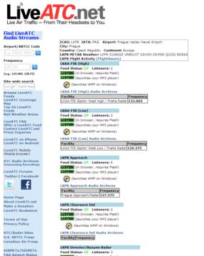 Webová stránka LiveATC.net