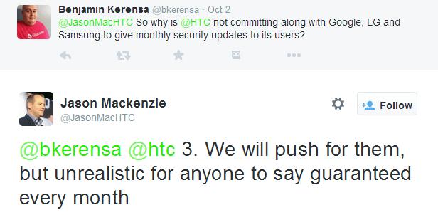 Dle šéfa americké divize HTC Jasona Mackenzieho je nerealistické tvrdit, že bezpečnostní aktualizace mohou být garantovány každý měsíc