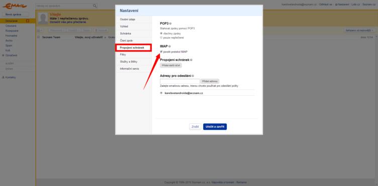 Povolení vybírání pošty přes IMAP na Seznam.cz