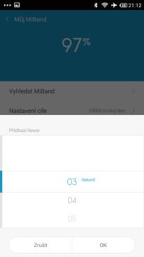 Xiaomi MiBand - příchozí hovor