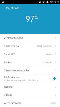 Xiaomi MiBand - prostředí aplikace (1)
