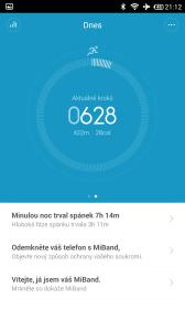 Xiaomi MiBand - úvodní obrazovka