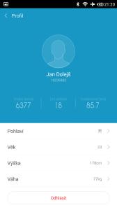 Xiaomi MiBand - uživatelský profil