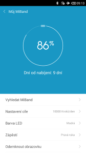 Xiaomi MiBand - výdrž baterie