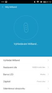 Xiaomi MiBand - vyhledávání zařízení