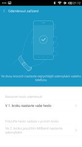 Xiaomi MiBand - zámek telefonu