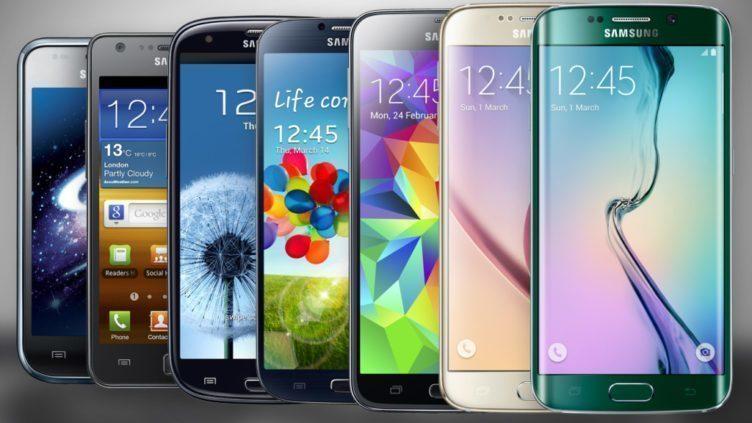 Vývoj velikostí vlajkových lodí řady Samsung Galaxy S